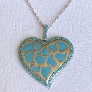 RESTOCK❣️Silver heart enamel turquoise necklace